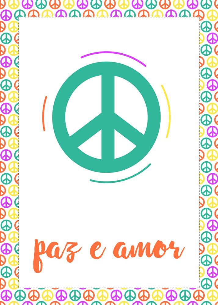 Placa Decorativa Frase Paz E Amor Kiaga