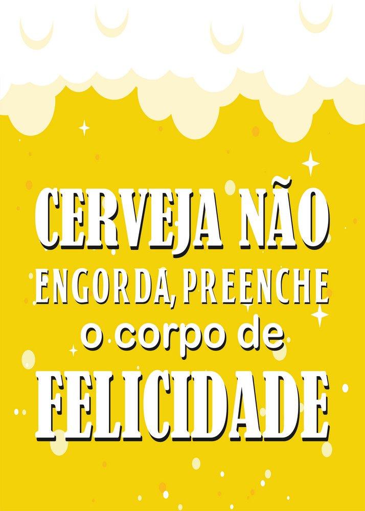 Placa Decorativa Frase Cerveja Não Engorda