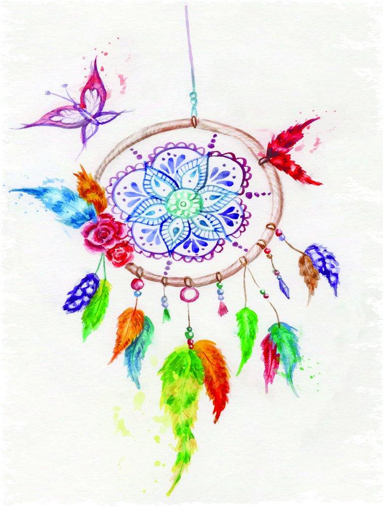 Placa Decorativa Desenho De Filtro Dos Sonhos Colorido Kiaga