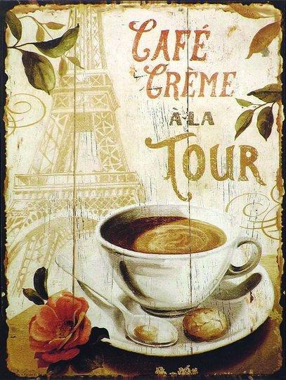 Placa Decorativa Café  Crème a La Tour