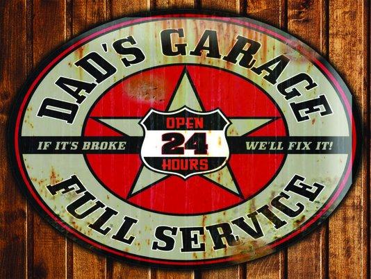 Placa Decorativa Dad's Garage