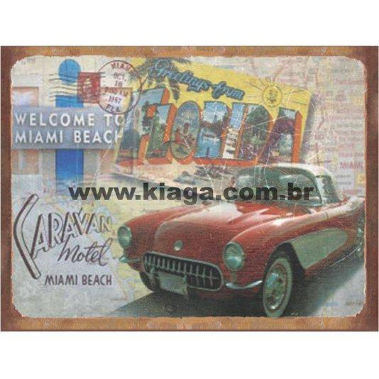 Placa Decorativa Vintage Caravan Motel Miami Beach