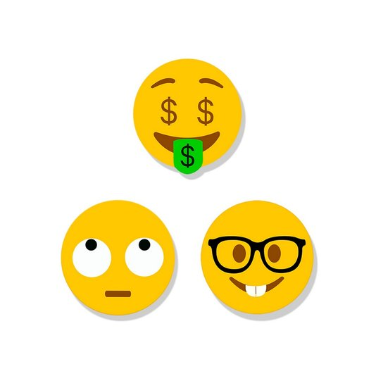 Super Ímã Emoji - Dinheiro- Pensativo- Nerd - GEGUTON