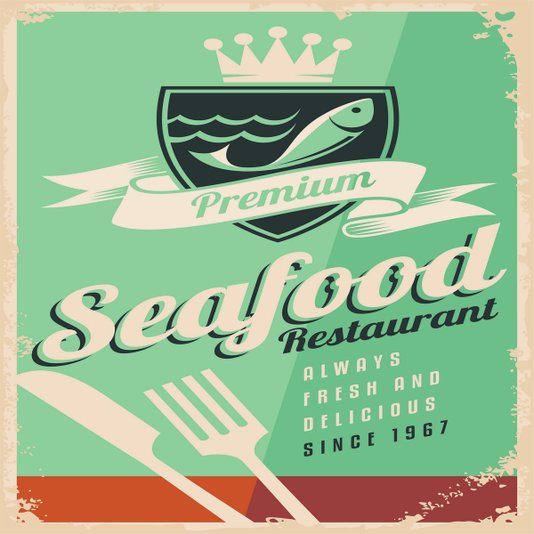 Placa Decorativa Seafood Restaurant Always Fresh and Delicious since 1967