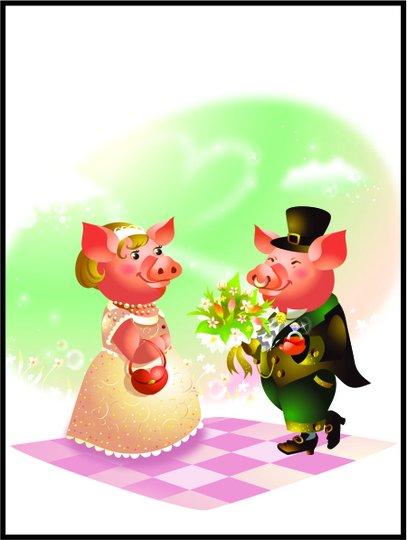 Placa Decorativa Infantil o Casamento dos Porquinhos
