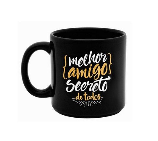 Caneca Preta Porcelana Amigo Secreto - Kathavento