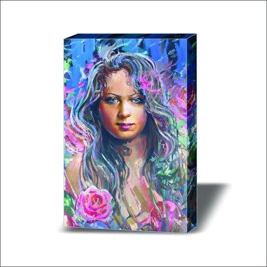 Quadro Painel em Tecido Canvas Pintura Mulher
