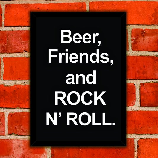 Quadro Porta Tampinhas Beer, Friends, And Rock N' Roll