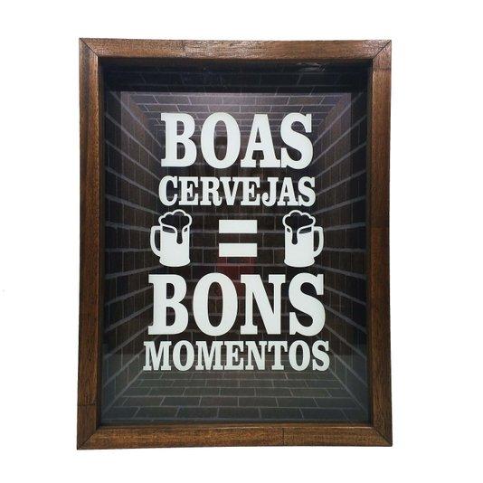 Quadro Porta Tampinhas Boas Cervejas = Bons Momentos