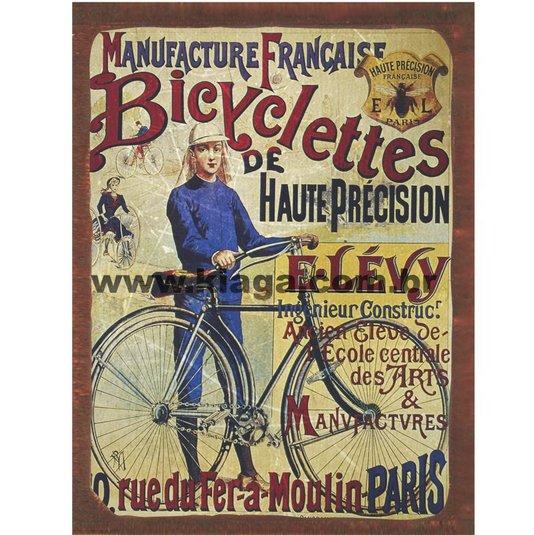 Placa Decorativa Bicicleta Bicyclettes de Haute Précision