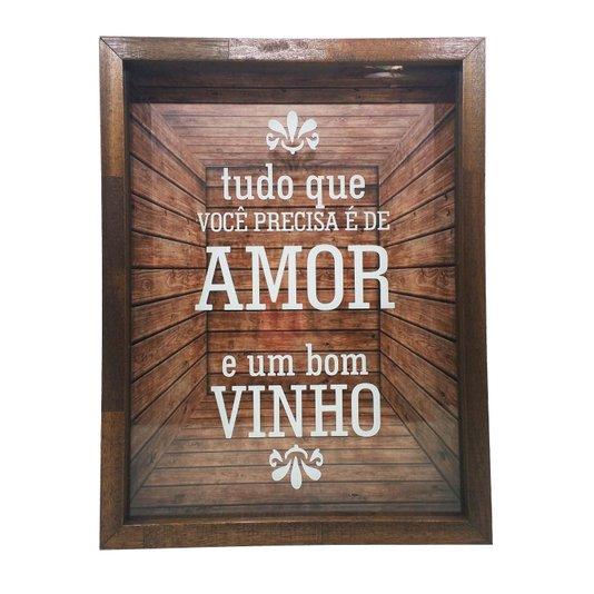 Quadro Porta Rolhas Tudo que Você Precisa é de Amor e um Bom Vinho