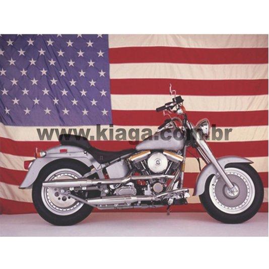Placa Decorativa Moto Bandeira Estados Unidos