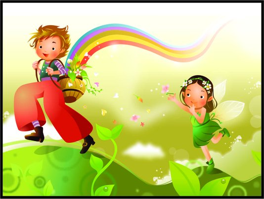 Placa Decorativa Infantil As Crianças e o Arco Iris