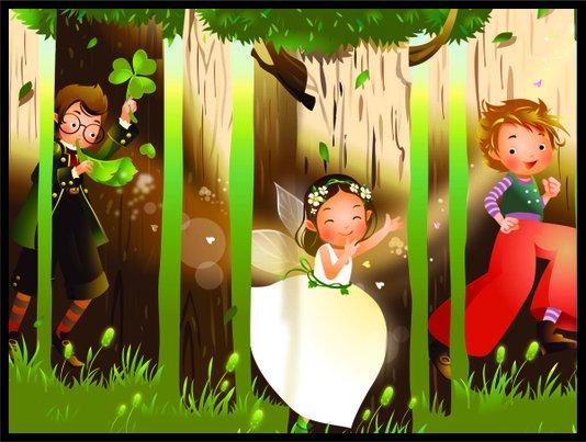 Placa Decorativa Infantil Crianças na Floresta