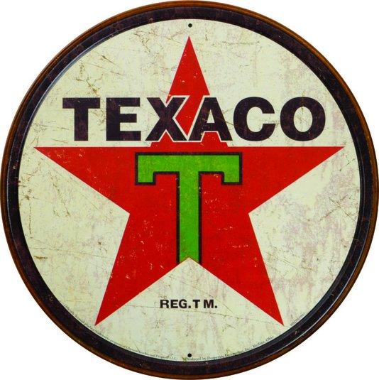 Placa Decorativa Redonda Texaco