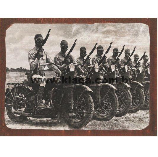 Placa Decorativa Guerra Soltados Motos