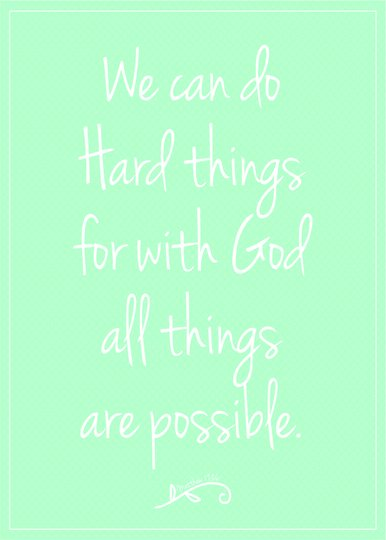 Placa Decorativa Frase We Can do Hard Things for With God all Things are Possible