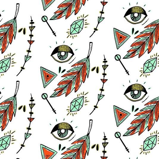 Placa Decorativa Olhos, Penas e Diamantes