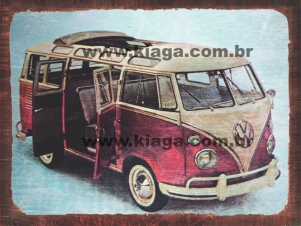Placa Decorativa Kombi Vintage