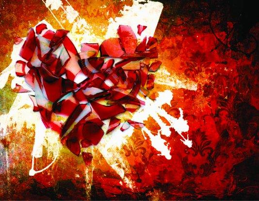 Placa Decorativa Coração Abstrato