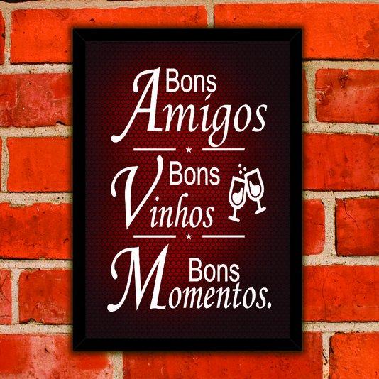 Quadro Porta Rolhas Bons Amigos Bons Vinhos Bons Momentos