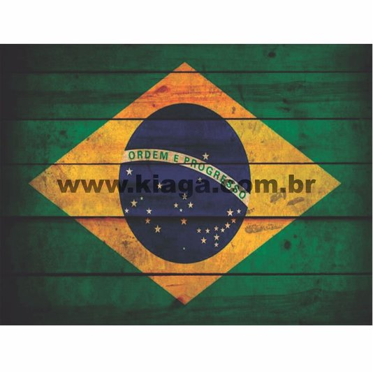 Placa Decorativa Vintage Bandeira do Brasil