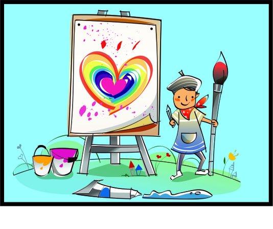Placa Decorativa Infantil Criança Pintando um Coração