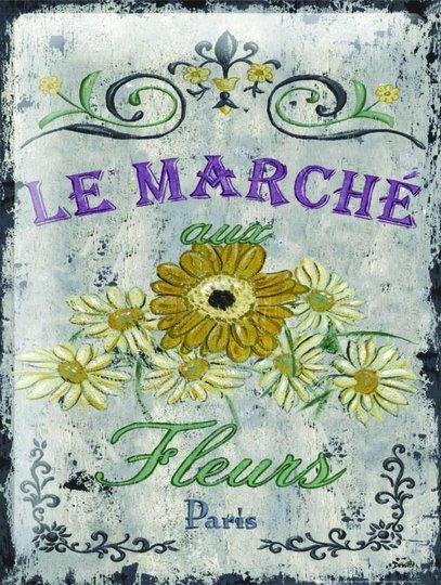 Placa Decorativa Flores Le Marché