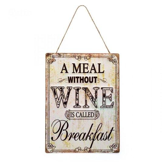 Placa Wine - Decoração Casa Retrô - LUDI