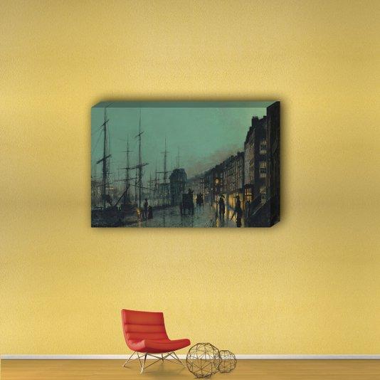 Quadro Painel em Tecido Canvas Paisagem Noturna Cáis