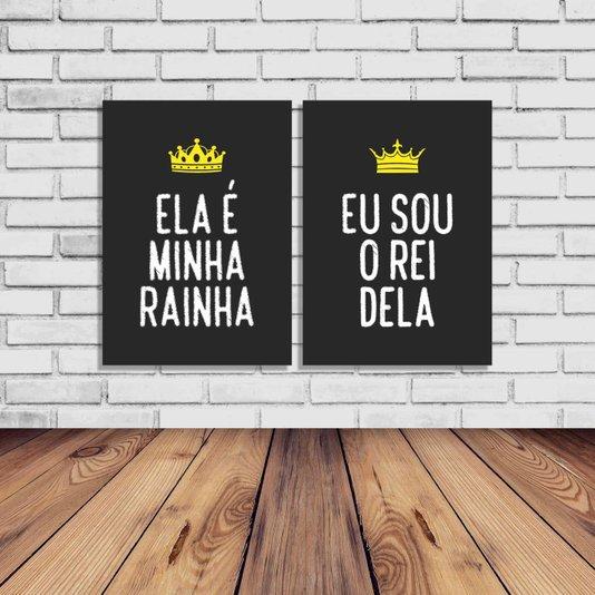 Kit 2 Placas Ela é Minha Rainha, Eu Sou o Rei Dela