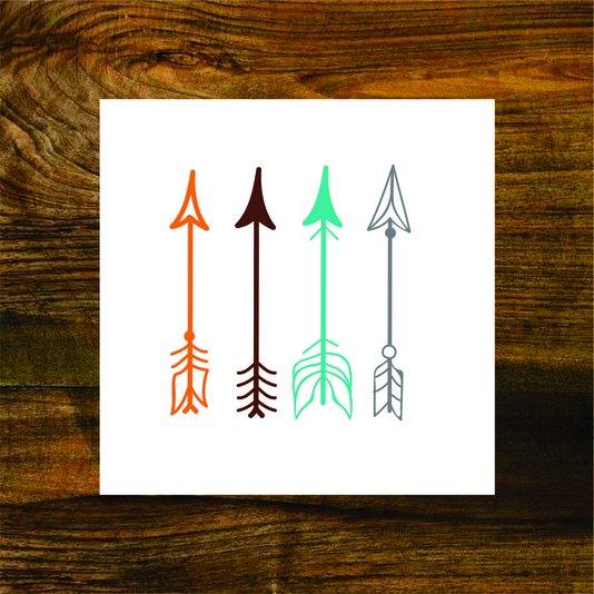 Placa Decorativa Flechas Abstratas e Coloridas