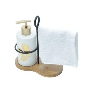 Kit para Banheiro de Cerâmica Branco - Golden leaf - URBAN