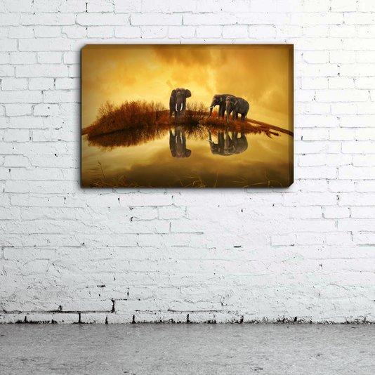 Quadro Painel em Tecido Canvas Elefantes
