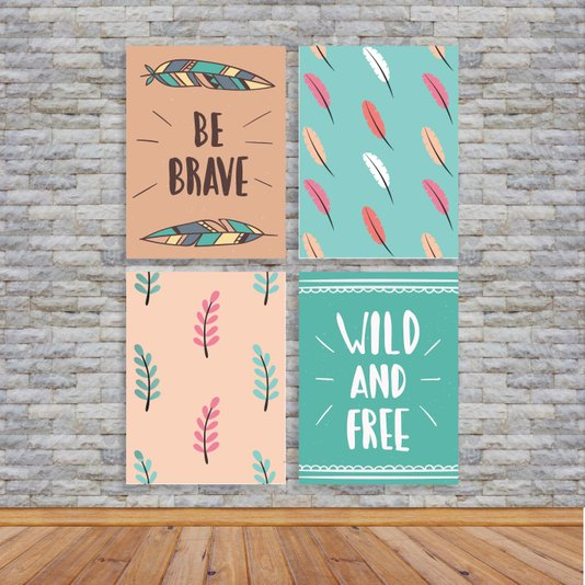 "Kit 4 Placas Frase: ""Be Brave"", ""Wild And Free"", Boho"