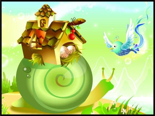Placa Decorativa Infantil o Caracol e o Pássaro