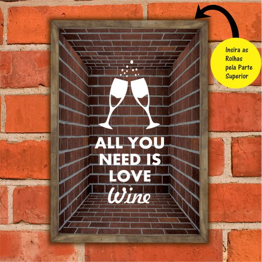 Quadro Porta Rolhas All You Need is Love Wine