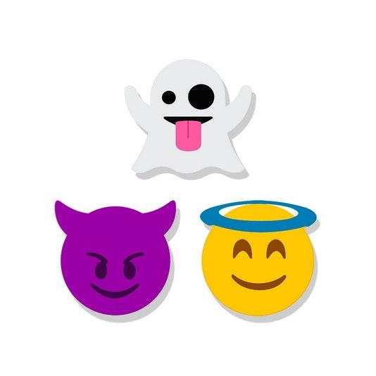 Super Ímã Emoji - Fantasma - Diabo - Anjo - GEGUTON