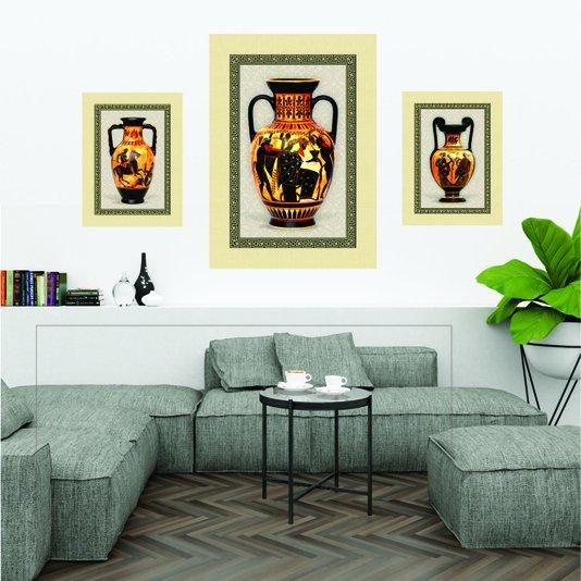 Kit 3 Placas Decorativas Vasos Amphoras