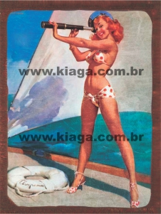 Placa Decorativa Vintage Pin-Up Marinheira