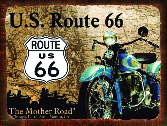 Placa Decorativa Moto Route Us 66