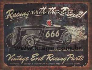 Placa Decorativa Vintage Racing With The Devil