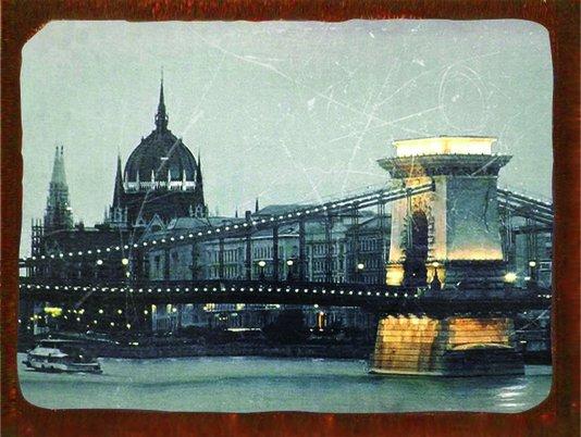 Placa Decorativa Vintage Parlamento de Budapeste