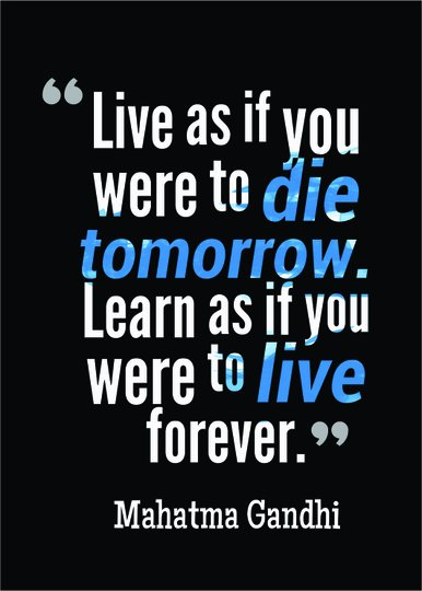 Placa Decorativa Frase Mahatma Gandhi Live As If You Were to Die Tomorrow