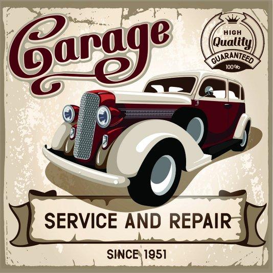 Placa Decorativa Garage Service and Repair Since 1951