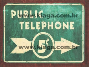 Placa Decorativa Indicativa Public Telephone 5c