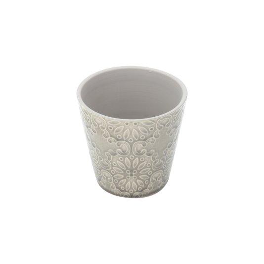 Vaso Cachepô de Cerâmica Embossed Cinza- URBAN