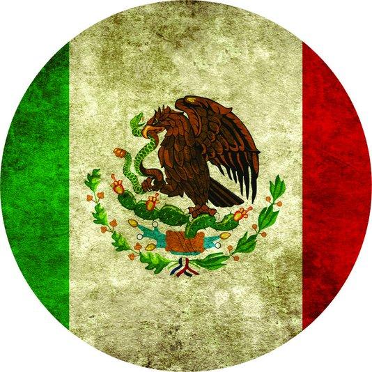 Placa Decorativa Redonda Bandeira do México