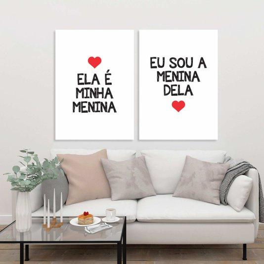 Kit Placas Ela é Minha Menina Eu Sou a Menina Dela Branco, Vermelho