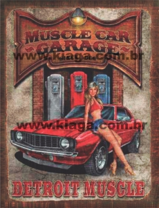 Placa Decorativa Vintage Muscle Car Garage